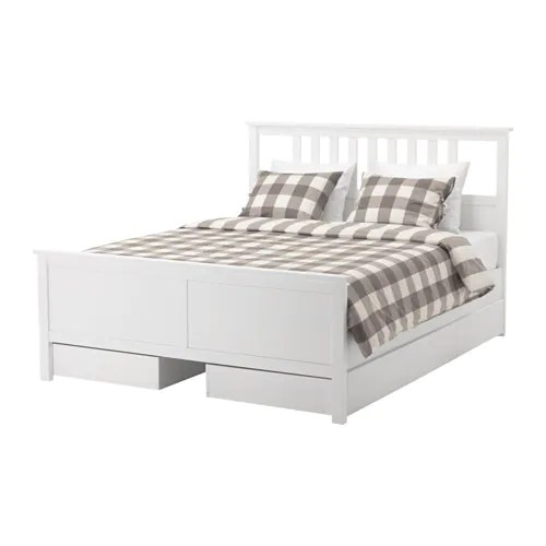hemnes bed frame with storage boxes ikea practical storage for an extra pillow comforter