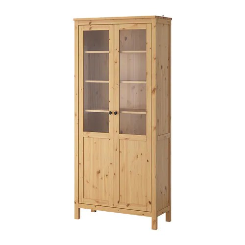HEMNES Cabinet with panel/glass door IKEA Solid wood has a natural feel.