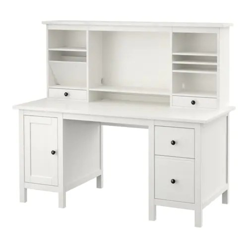 HEMNES Desk with addon unit  white stain  IKEA