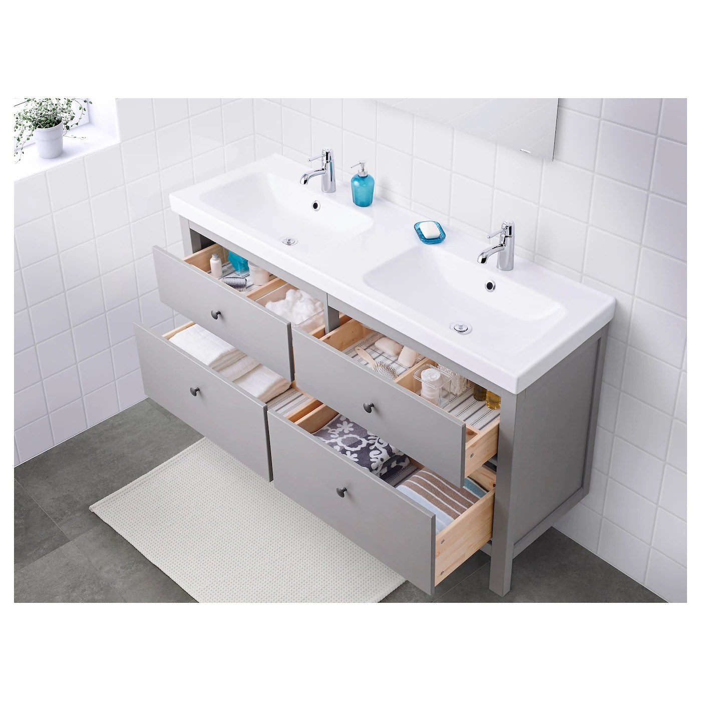 hemnes odensvik sink cabinet with 4 drawers gray 56 1 4x19 1 4x35