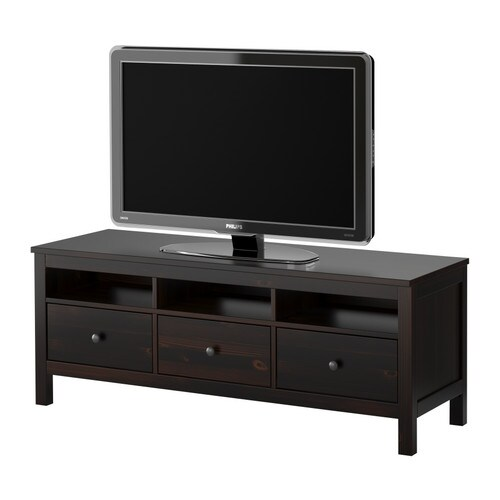"HEMNES TV unit, black-brown Width: 58 5/8 "" Depth: 18 1/2 "" Height: 22 1/2 "" Max. load: 110 lb Max screen size/flat screen TV: 50 ""  Width: 149 cm Depth: 47 cm Height: 57 cm Max. load: 50 kg Max screen size/flat screen TV: 50 """