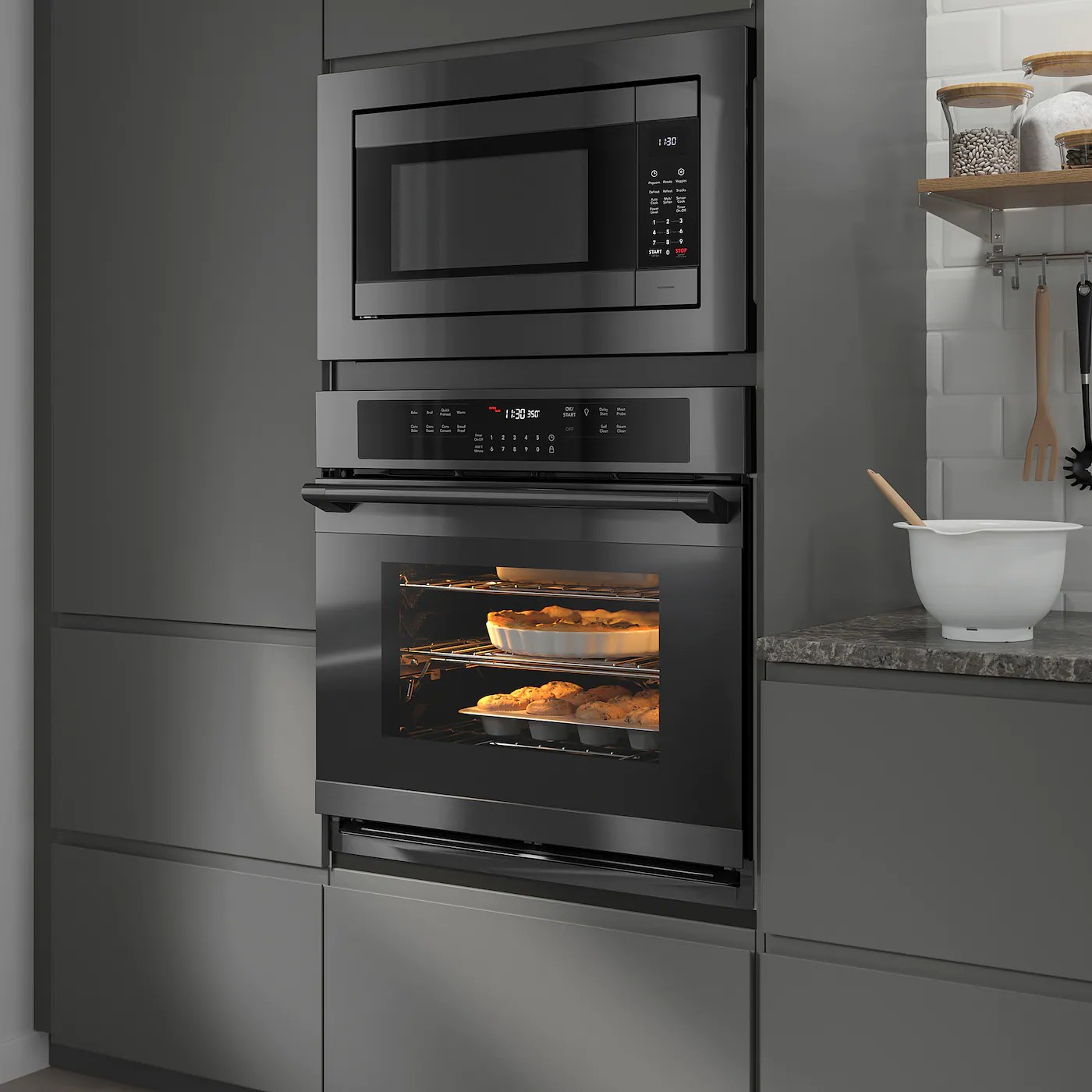 huvudsaklig built in microwave black stainless steel