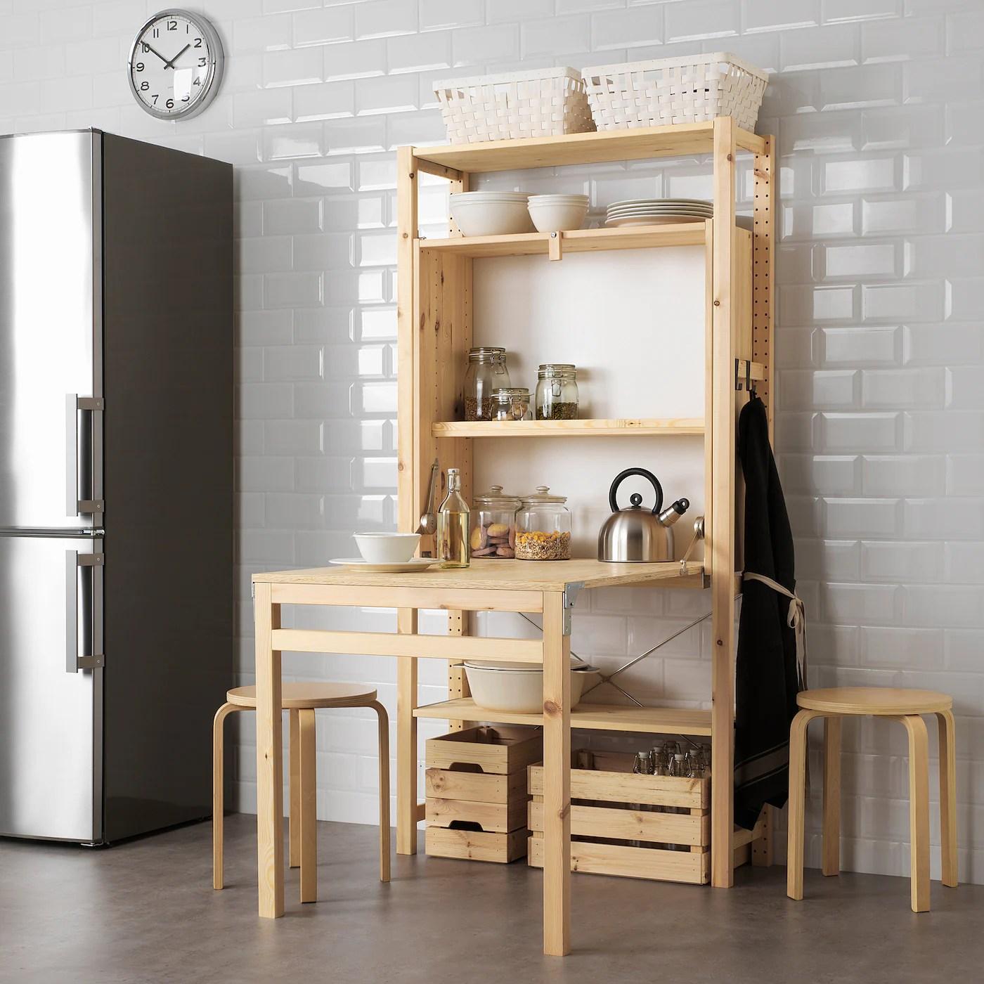 Ivar Storage Unit With Foldable Table Pine Ikea