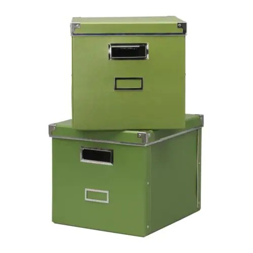 "KASSETT Magazine box with lid green Width: 13 "" Depth: 15 "" Height: 11 ¾ "" Package quantity: 2 pack  Width: 33 cm Depth: 38 cm Height: 30 cm Package quantity: 2 pack"