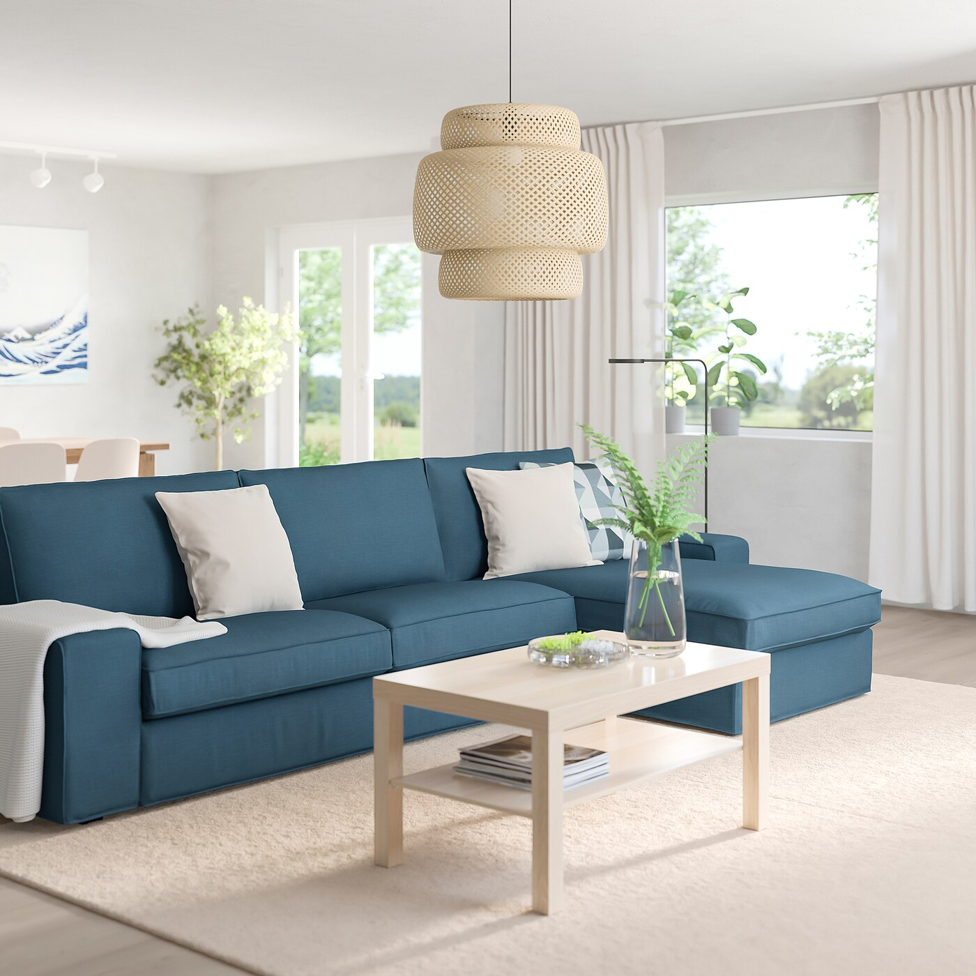 kivik sectional 4 seat with chaise hillared dark blue