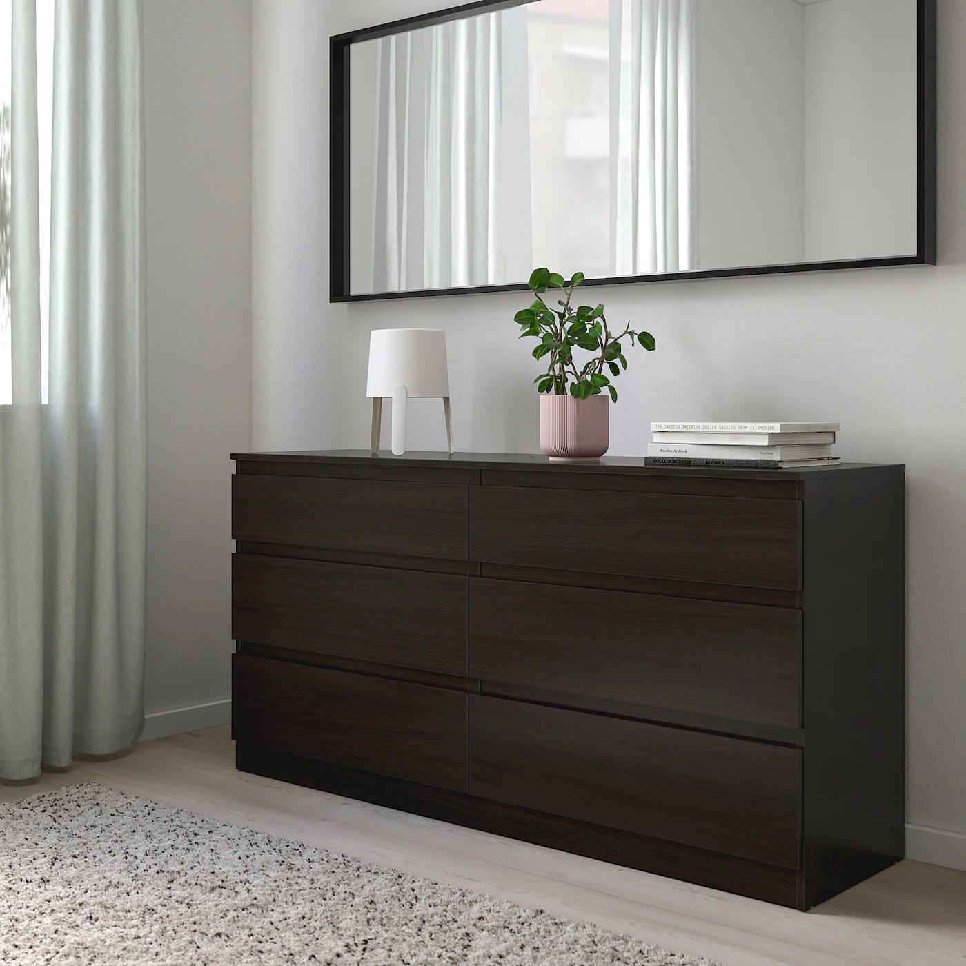 kullen 6 drawer dresser black brown 55 1 8x28 3 8
