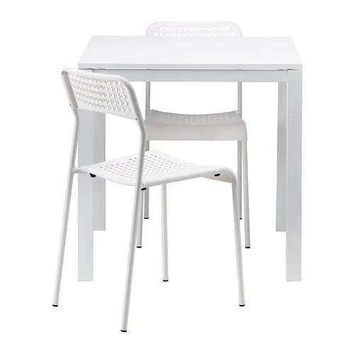 table and 2 chairs cheap white ladder back rush seats melltorp adde ikea