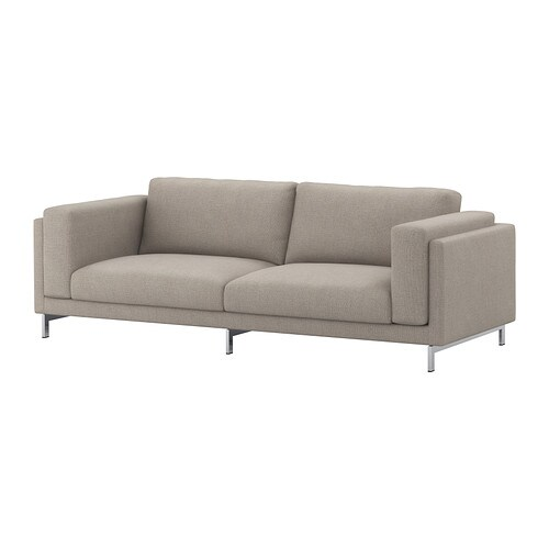 sofa cover fabric online retro furniture bed nockeby - tenö light gray/chrome plated ikea