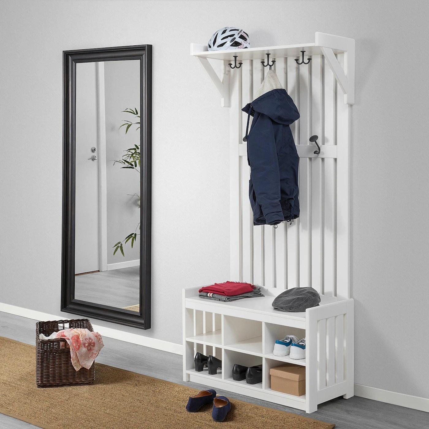 panget coat rack with shoe storage bench white 33 1 2x16 1 8x78 3 4
