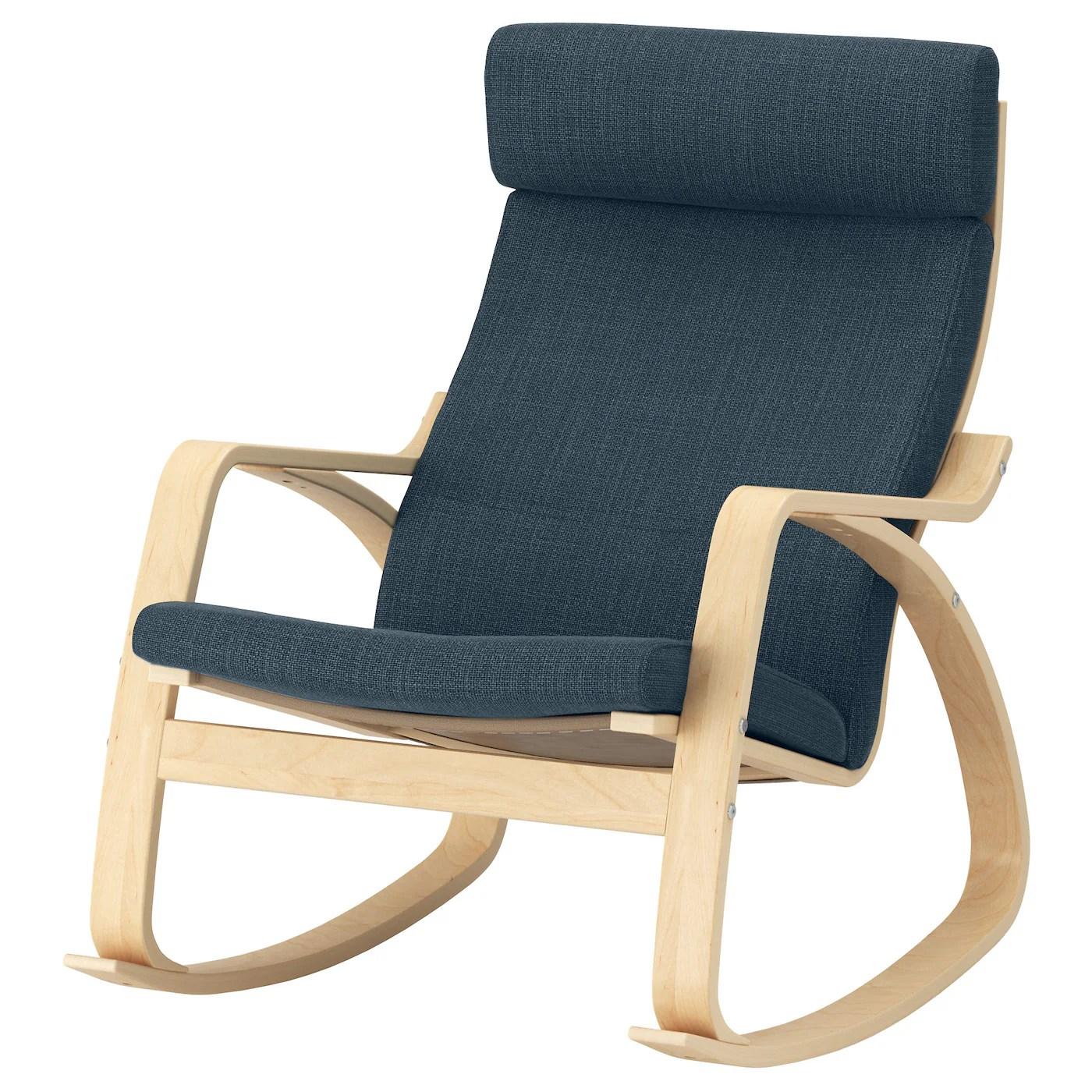 poang rocking chair birch veneer hillared dark blue