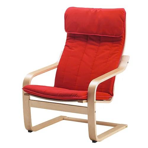 ikea children's chair covers wooden swivel desk poÄng cushion - alme medium red