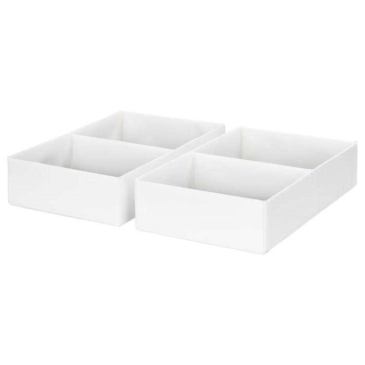 "RASSLA Box with compartments, white, 9 ¾x16 ¼x3 ½ """