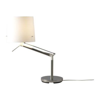 "SAMTID Table lamp, nickel plated, white Height: 28 "" Base diameter: 8 "" Shade diameter: 9 "" Cord length: 5 ' 9 ""  Height: 71 cm Base diameter: 19.5 cm Shade diameter: 23 cm Cord length: 175 cm"