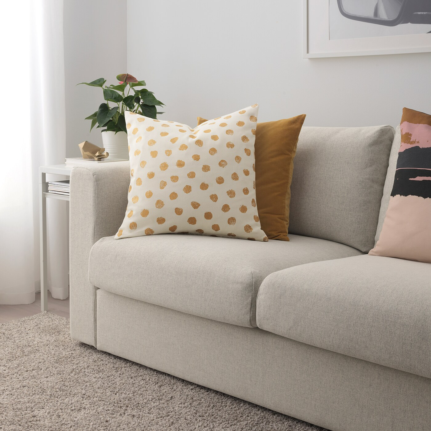 skaggort cushion cover white gold color 20x20