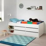 Slakt Bed Frame W Storage Slatted Bedbase White Twin Ikea
