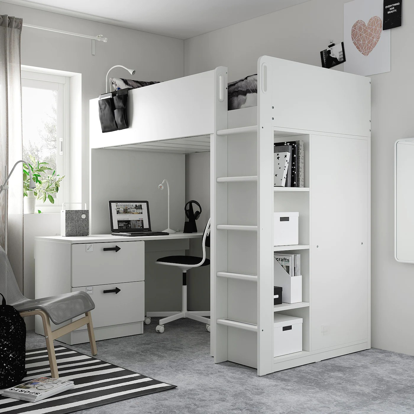 smastad loft bed white white with desk with 3 drawers twin