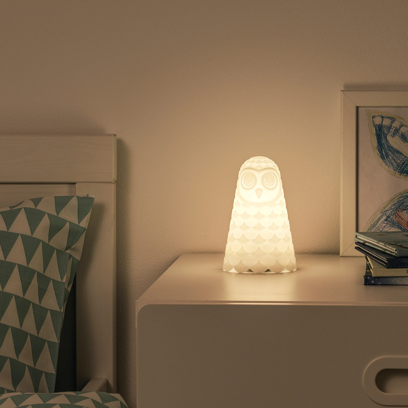 Solbo Led Table Lamp White Owl Battery Operated 6 Ikea