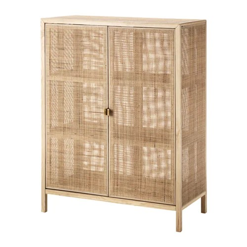 STOCKHOLM 2017 Cabinet IKEA Made from rattan and ash, natural materials that age with grace.  Steady on uneven floors, thanks to the adjustable feet.
