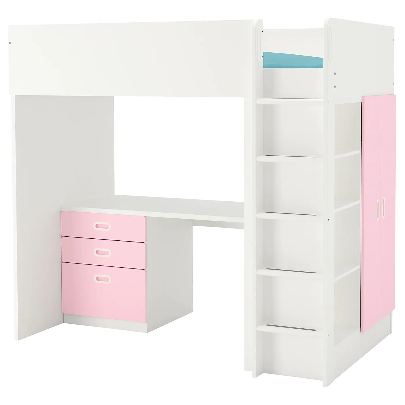 Stuva Fritids Loft Bed With 3 Drawers 2 Doors White Light Pink Twin Ikea