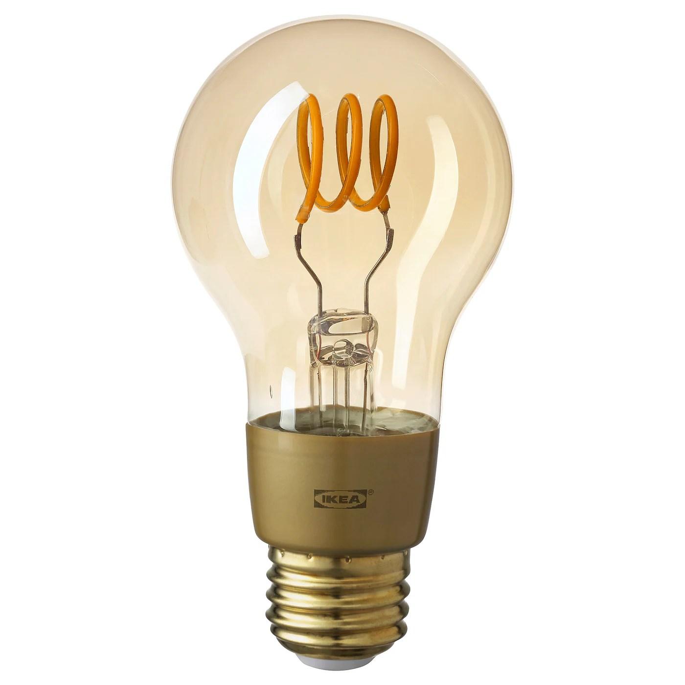 tradfri led bulb e26 250 lumen wireless dimmable warm glow globe brown clear glass
