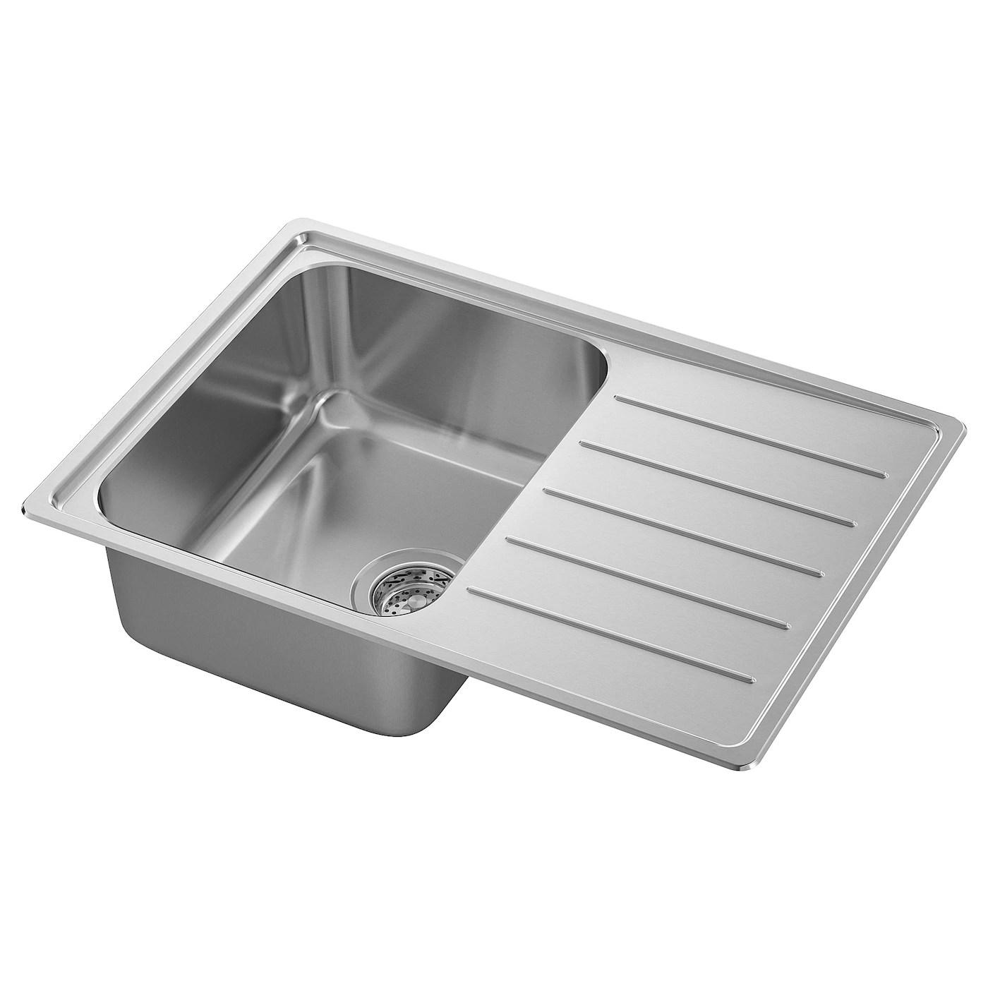vattudalen single bowl top mount sink stainless steel 27 1 8x18 1 2