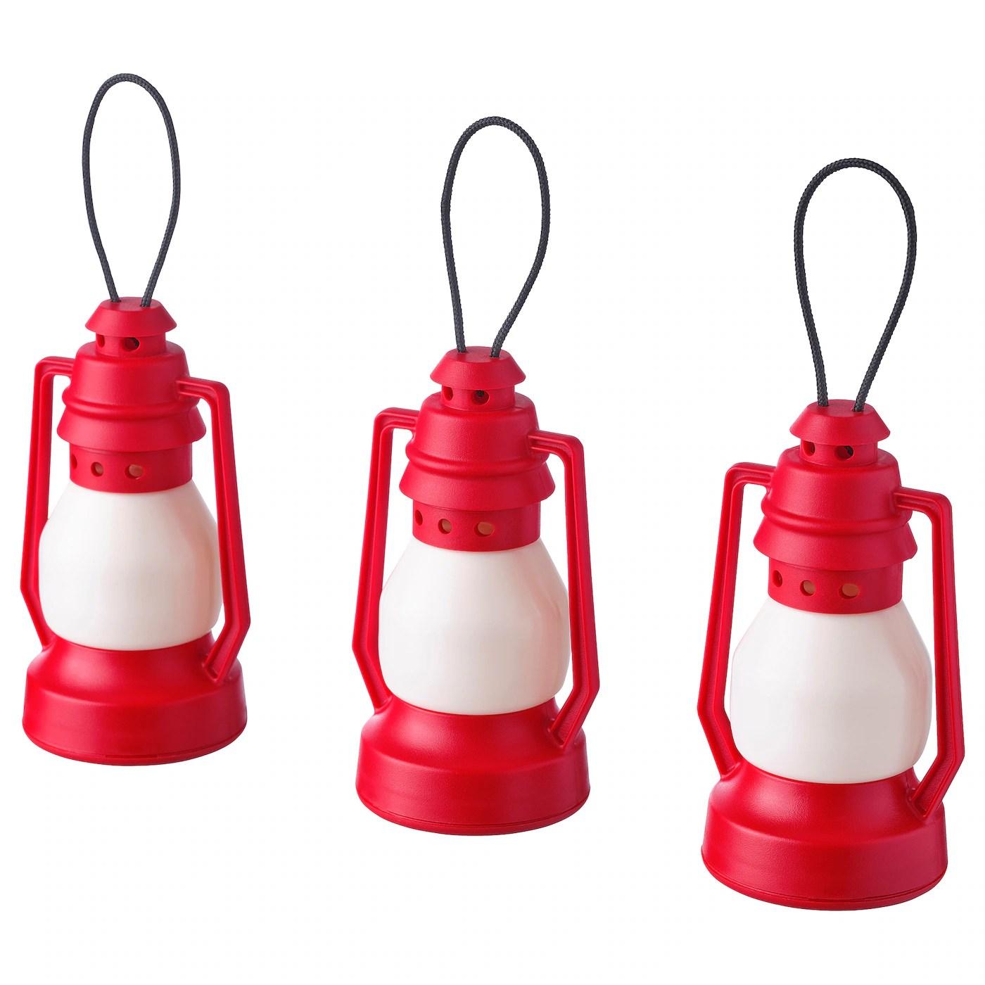 Led Decorative Light Vinterfest Battery Operated Lantern Red