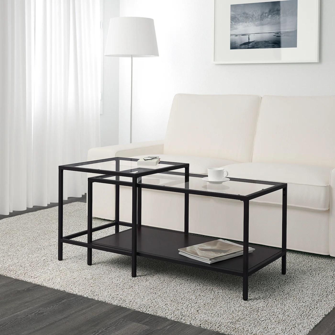 vittsjo nesting tables set of 2 black brown glass 35 3 8x19 5 8