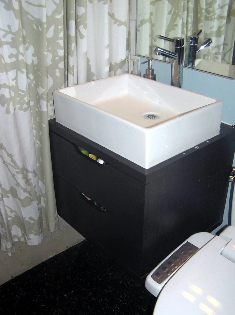 Bathroom special Space saving floating vanity  IKEA Hackers