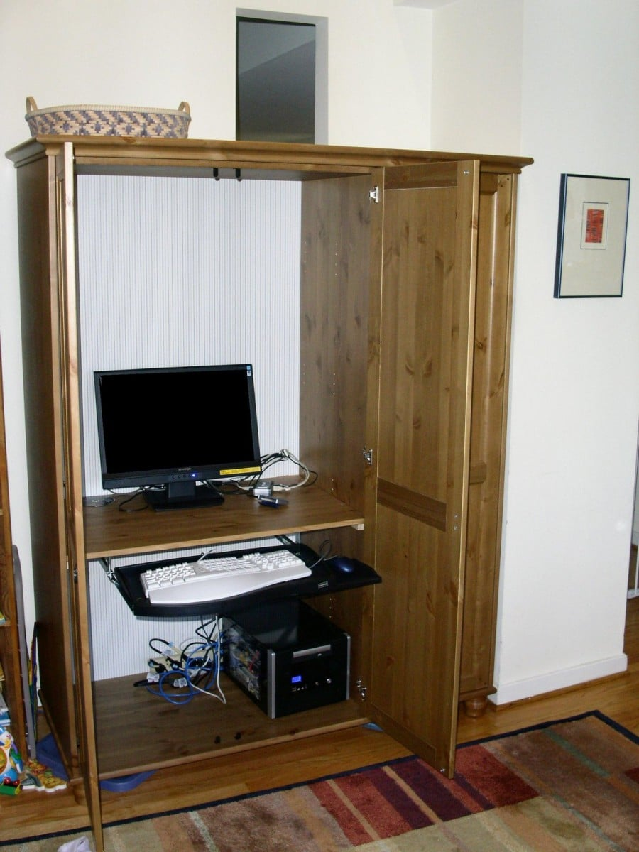 wardrobe to computer workstation  IKEA Hackers