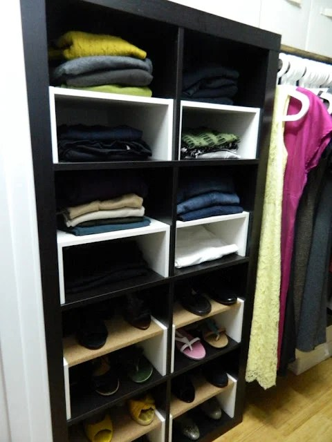 Expedit in the Closet with halfshelf inserts  IKEA
