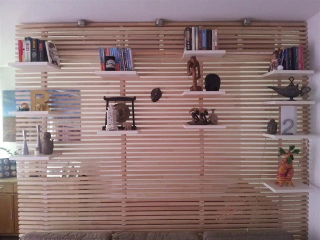 IKEA Mandal headboard hacked into a room divider and shelving