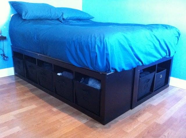 expedit bed frame ikea hackers. Black Bedroom Furniture Sets. Home Design Ideas
