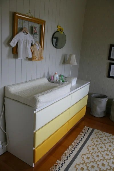 Unique Ikea Malm drawers change table nursery upholstery makeover