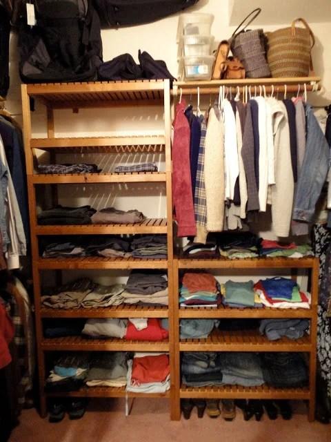 Closet system using Ikea Molger Bench