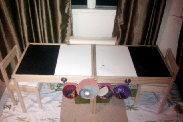 inexpensive kitchen decor 2 hole faucet children's arts and crafts table - ikea hackers