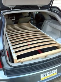 Hacking a bed into the back of a station wagon