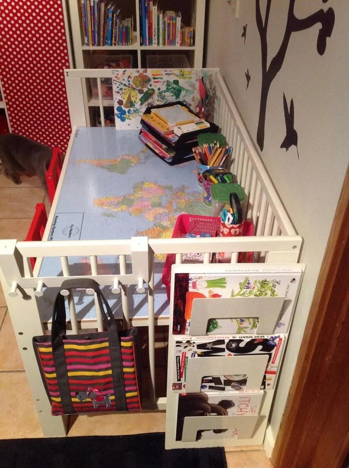 Kids ArtCraftHomework Table from IKEA Gulliver Cot