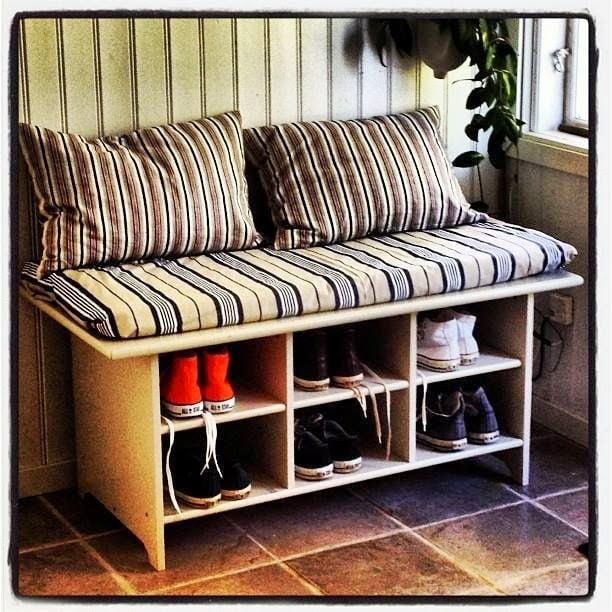 LEKSVIK coffee table to shoe bench