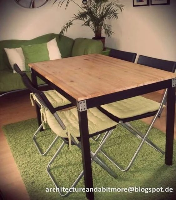 Popular Industrial dining table from a simple IKEA table