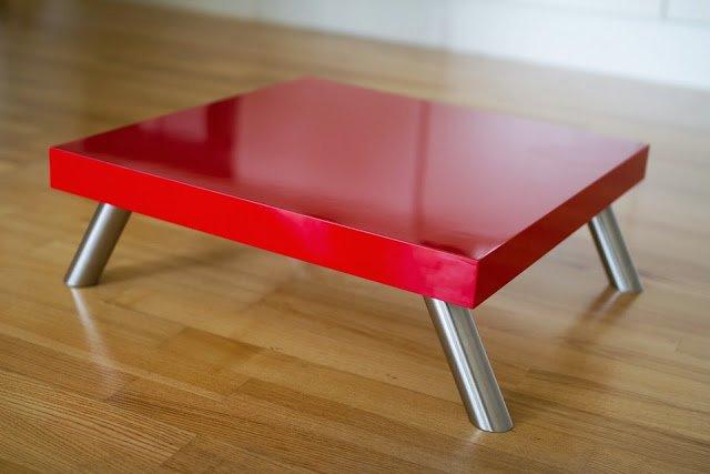 Reinforced Red Lack Platform/Stool/Table