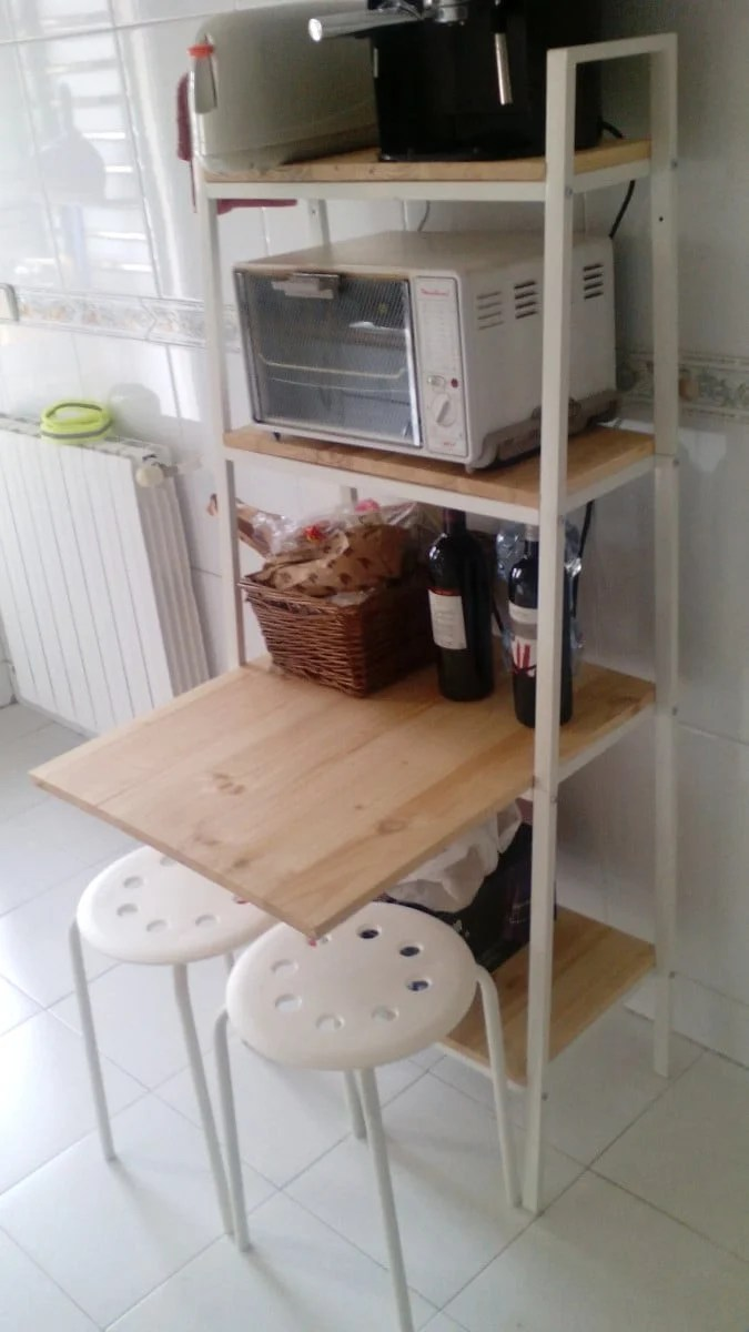 ikea metal shelves kitchen ceiling fans for lerberg as storage and mini breakfast bar - ...