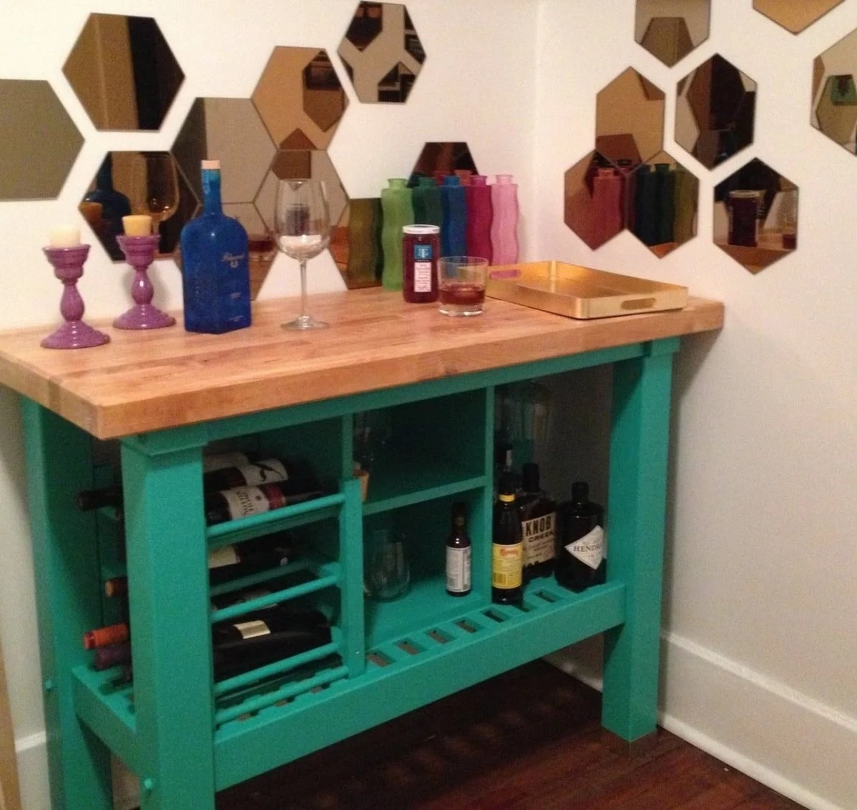21 Amazing Shelf Rack Ideas For Your Home: Kitchen Island Turned Custom Bar
