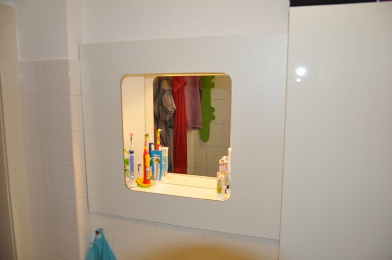 Trend New bathroom cabinet to replace hole in the wall
