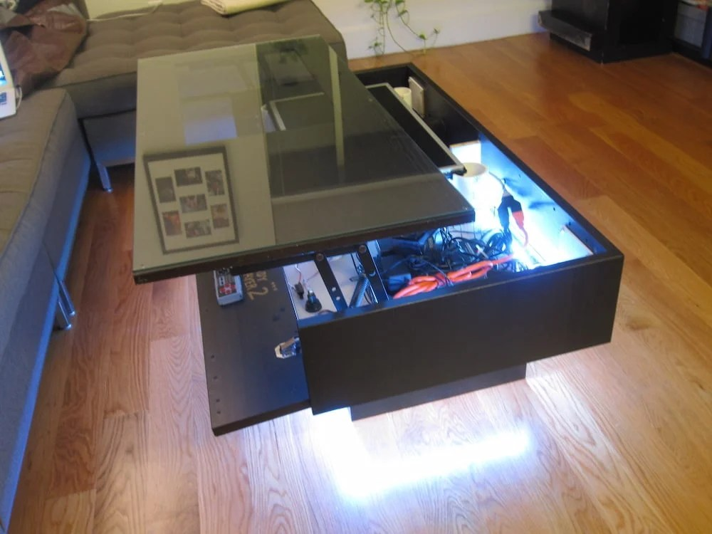 arcade table with lift top