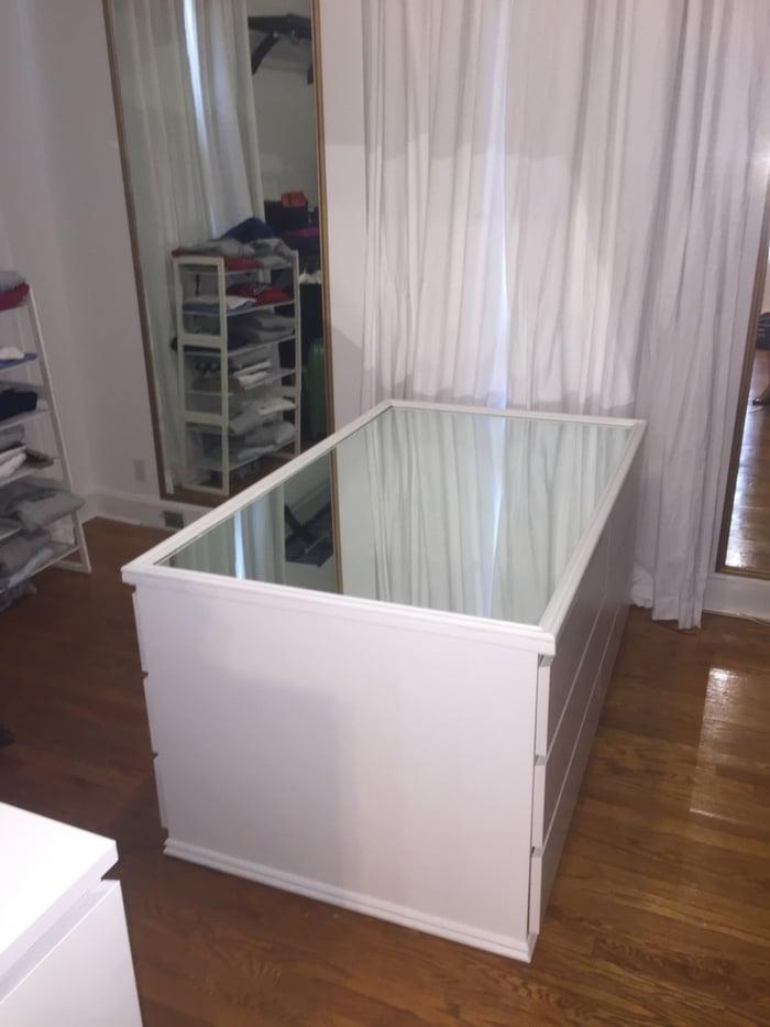 Hollywood Glam Malm Mirrored Dresser Island