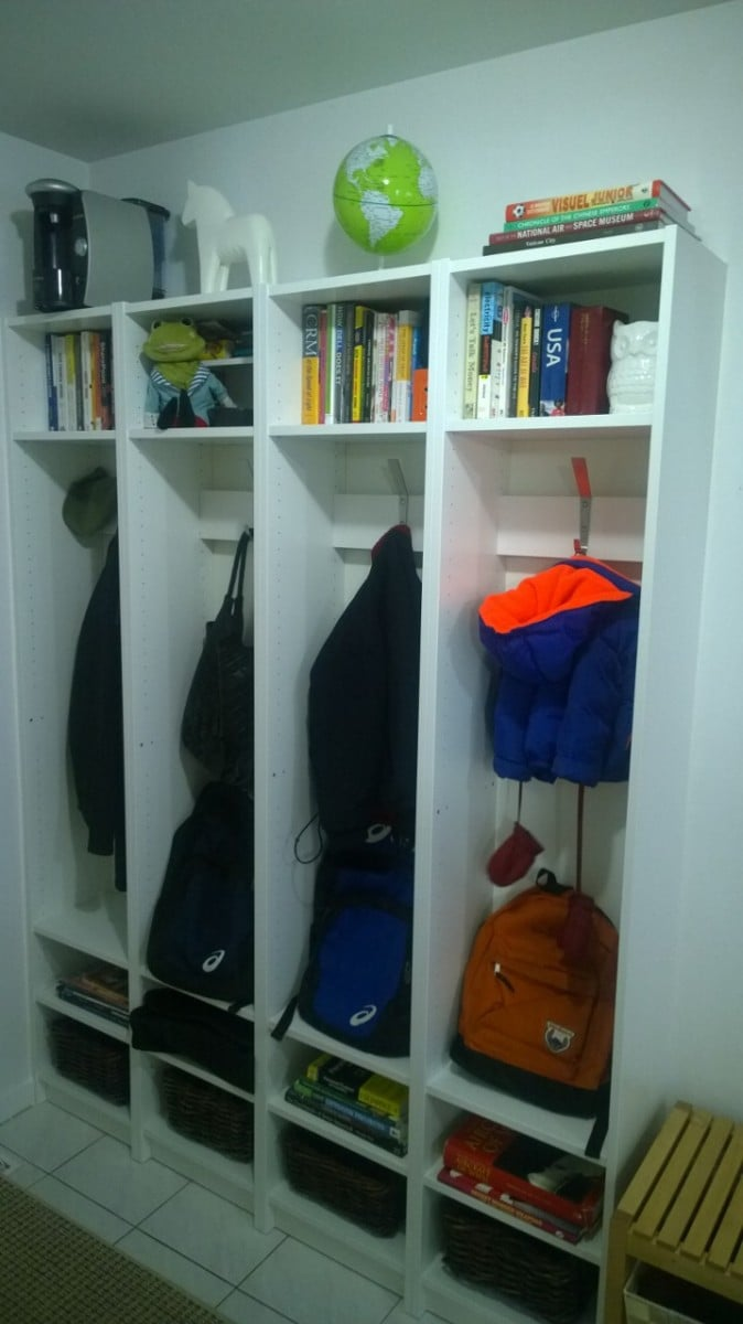 built in entryway cubbies using billy bookcases. Black Bedroom Furniture Sets. Home Design Ideas