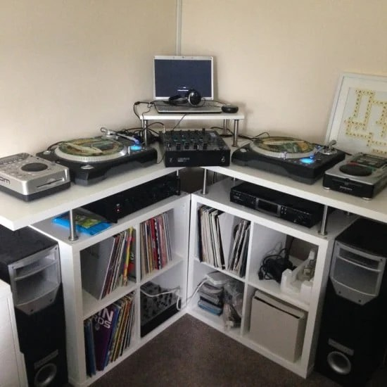 Space saving corner DJ/Music production unit