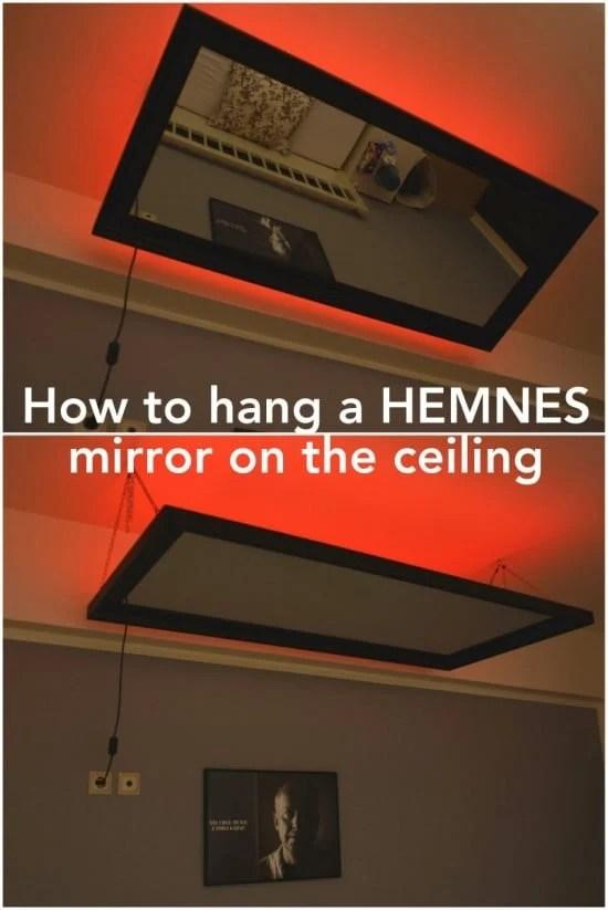 Above the bed mirror IKEA HEMNES hack