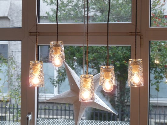 Turn IKEA FLIMRA drinking glasses into pendant lamp shades