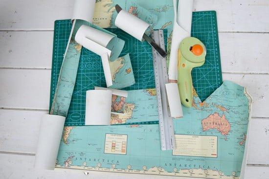 Cavallini world map gift wrap